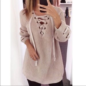 Sweaters - ✨✨New✨✨Taupe Lace Up Sweater✨✨